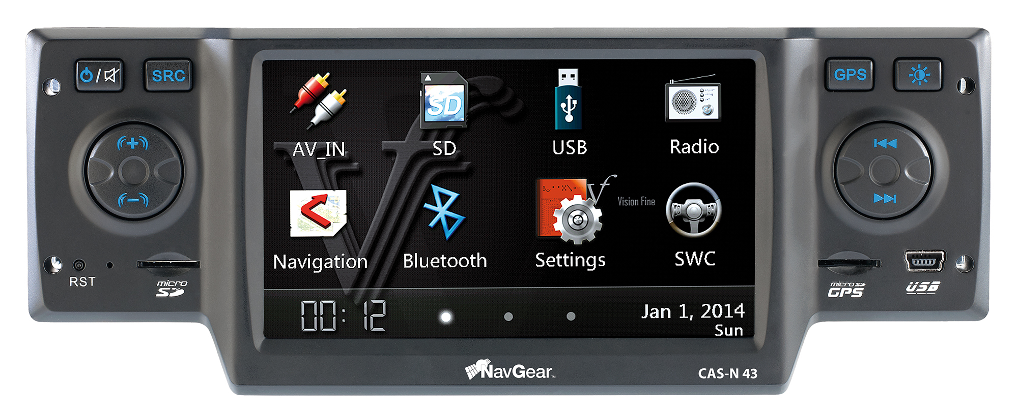 navgear streetmate 1 din autoradio mit 4 3 navi cas n 43. Black Bedroom Furniture Sets. Home Design Ideas