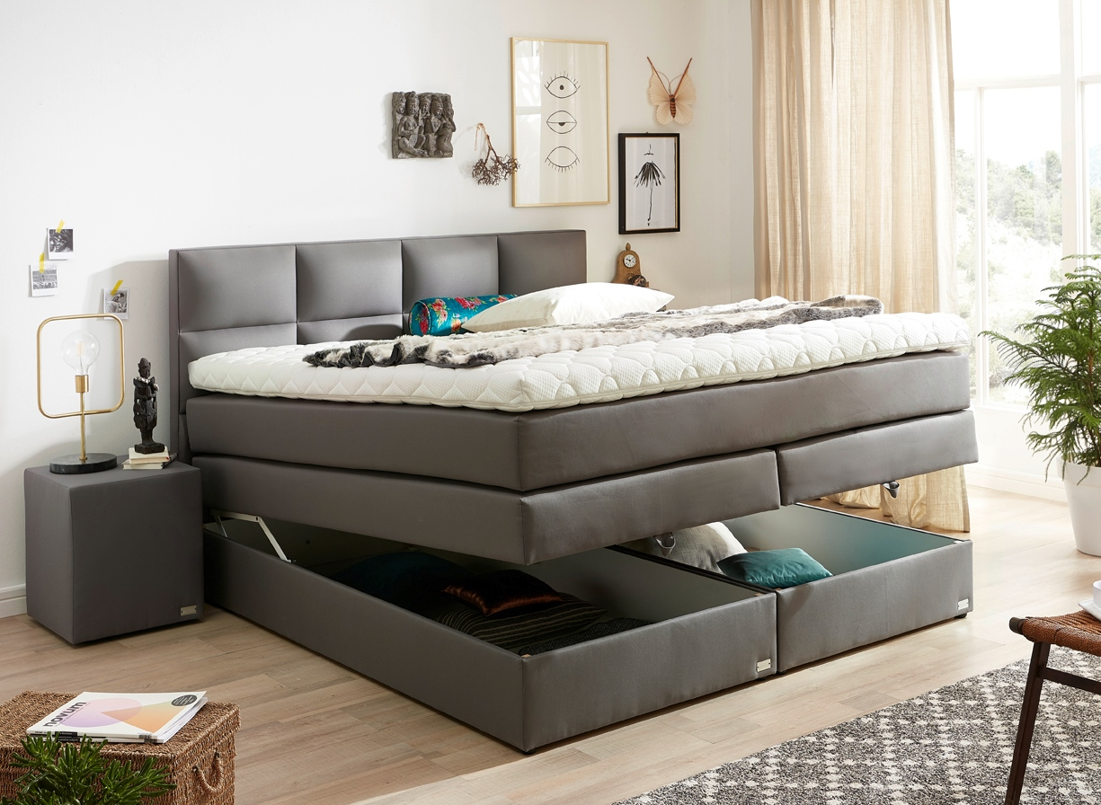 boxspringbett mit bettkasten und stauraum neu bei welcon. Black Bedroom Furniture Sets. Home Design Ideas