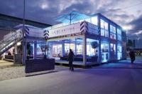 Lounge Area mit coolem Ambiente: Raumlösung von ELA Container auf Münchener Textilmesse