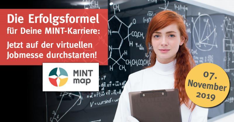 """Die """"MINTmap 2019"""" – die Online-Karrieremesse für MINT-Experten am 7. November 2019"""