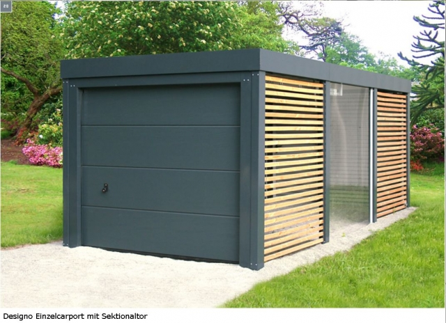 sektionaltor mit carport nichts ist unm glich mit dem designo carport. Black Bedroom Furniture Sets. Home Design Ideas